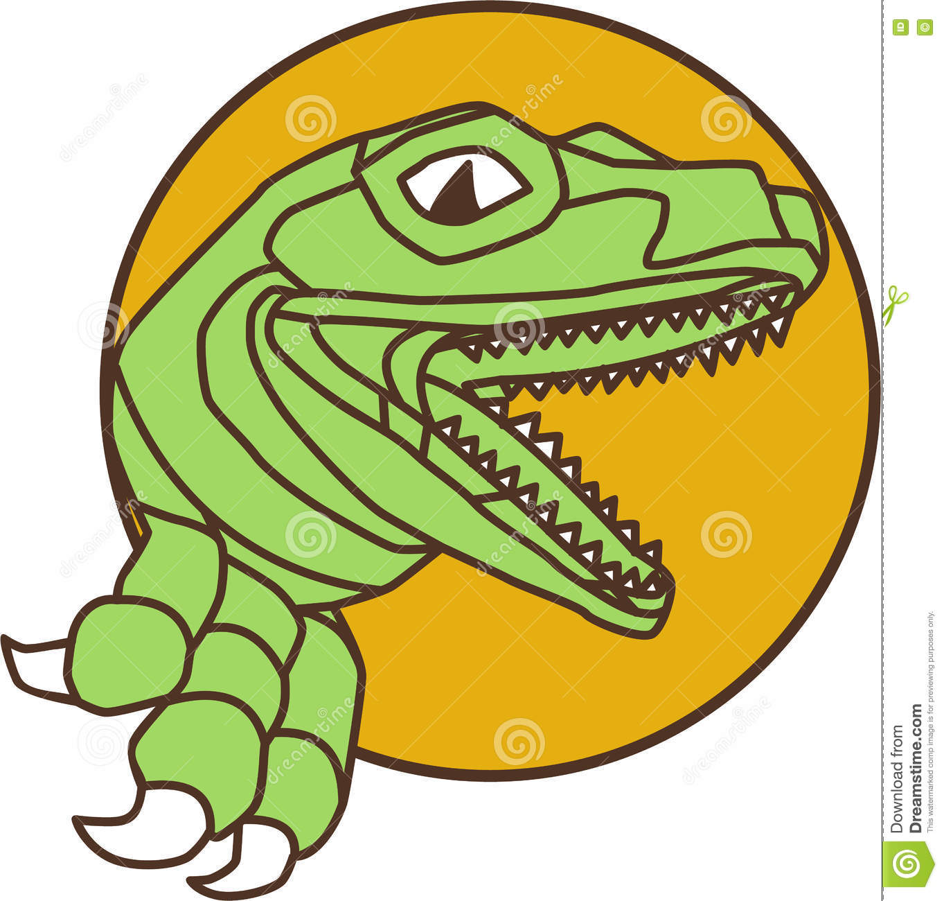 Raptor Head Breaking Out Wall Circle Drawing Stock Illustration ...