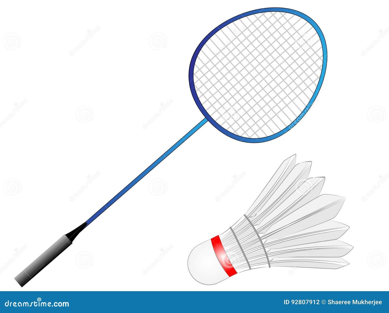 Raquete de badminton do vetor dos desenhos animados com pena