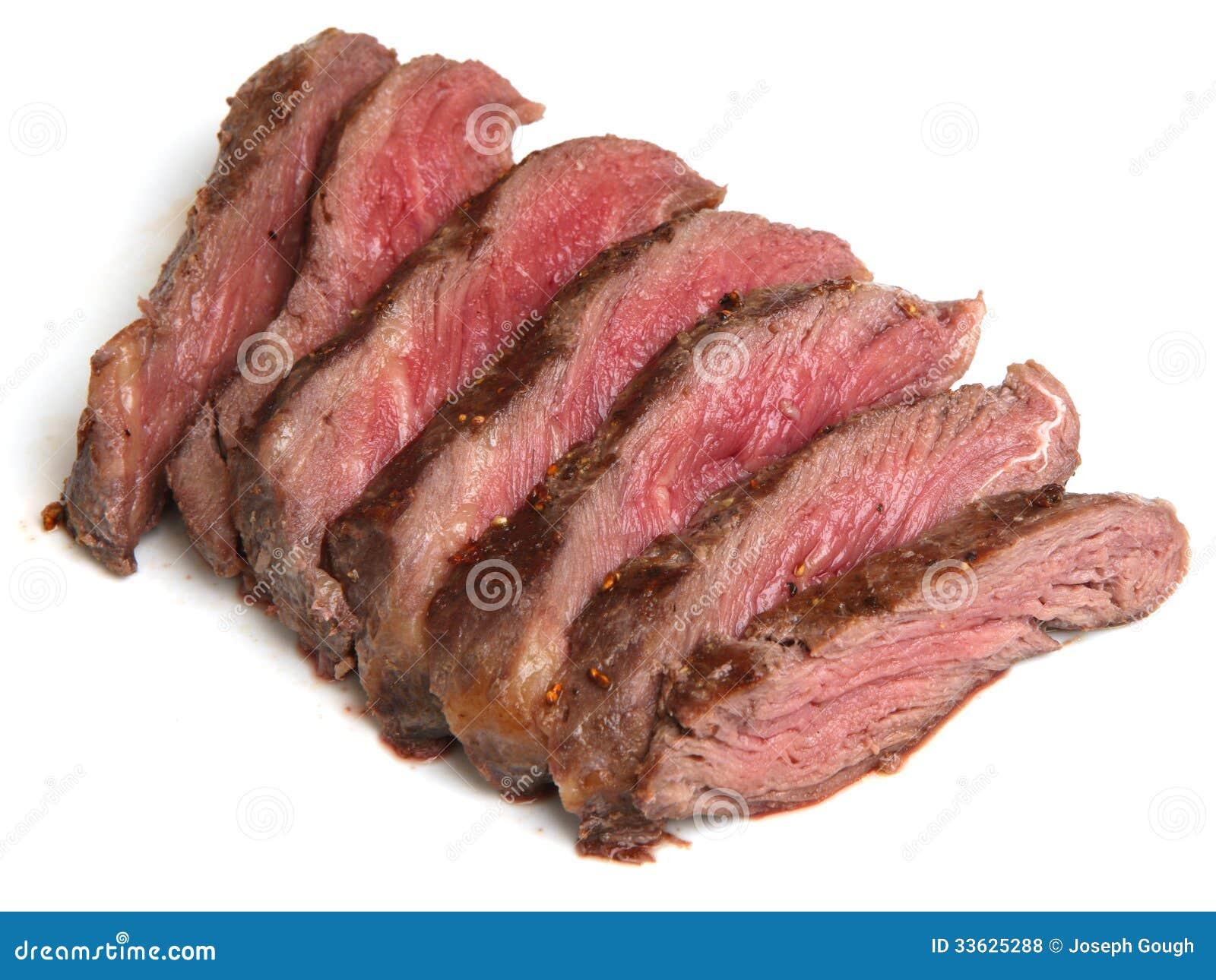 Rare Beef Fillet Steak Sliced On White Background Royalty