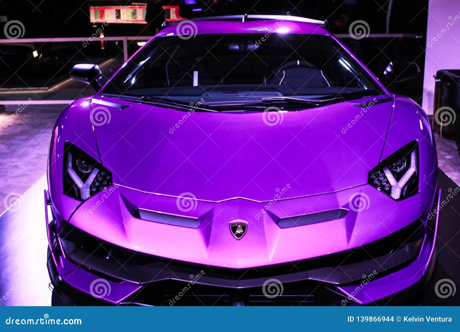Rare Purple Lamborghini On Display Editorial Stock Image Image Of