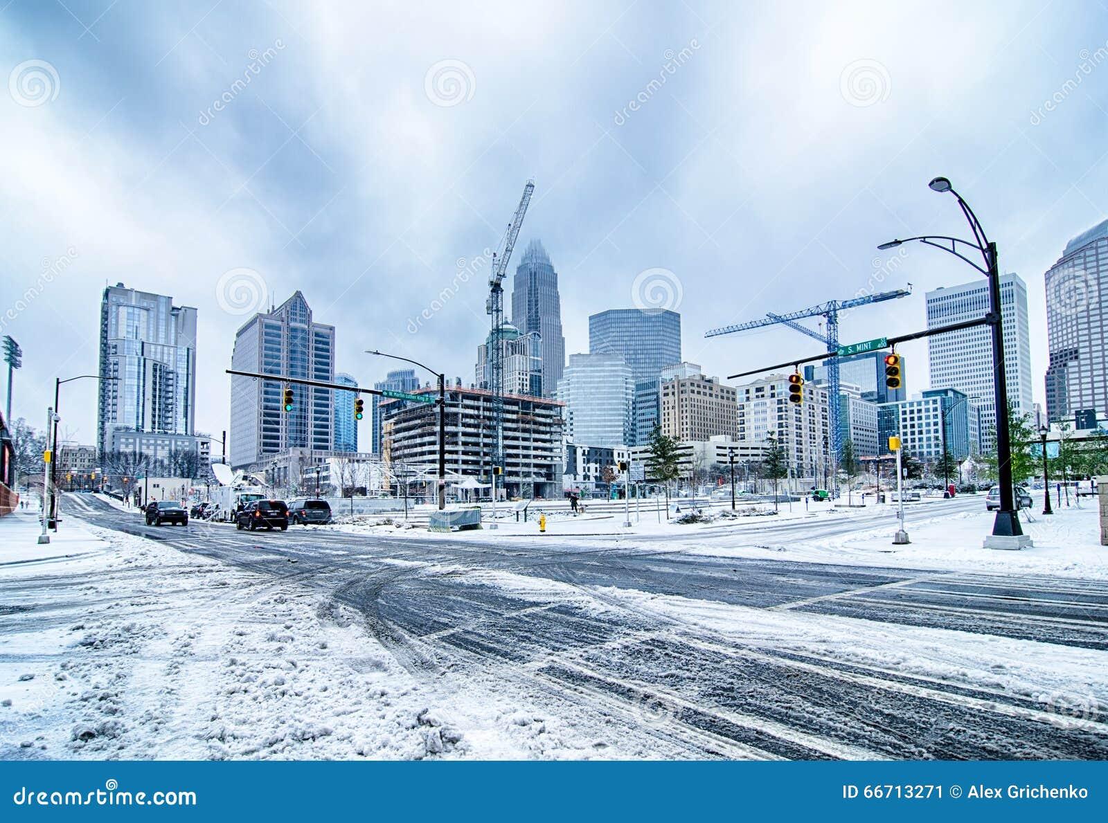 Rare Winter Weather In Charlotte North Carolina Stock Image Image