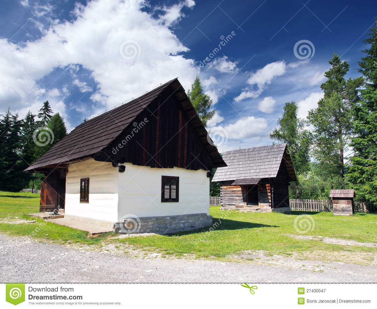 Rare wooden folk houses in Pribylina