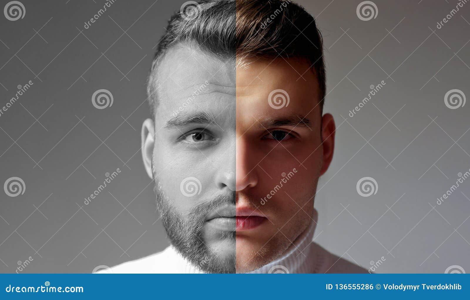 Rasé contre l homme non rasé Après qu ou avant rasé Placez de l homme barbu Coiffeur de coiffure pour l homme bel coiffeur