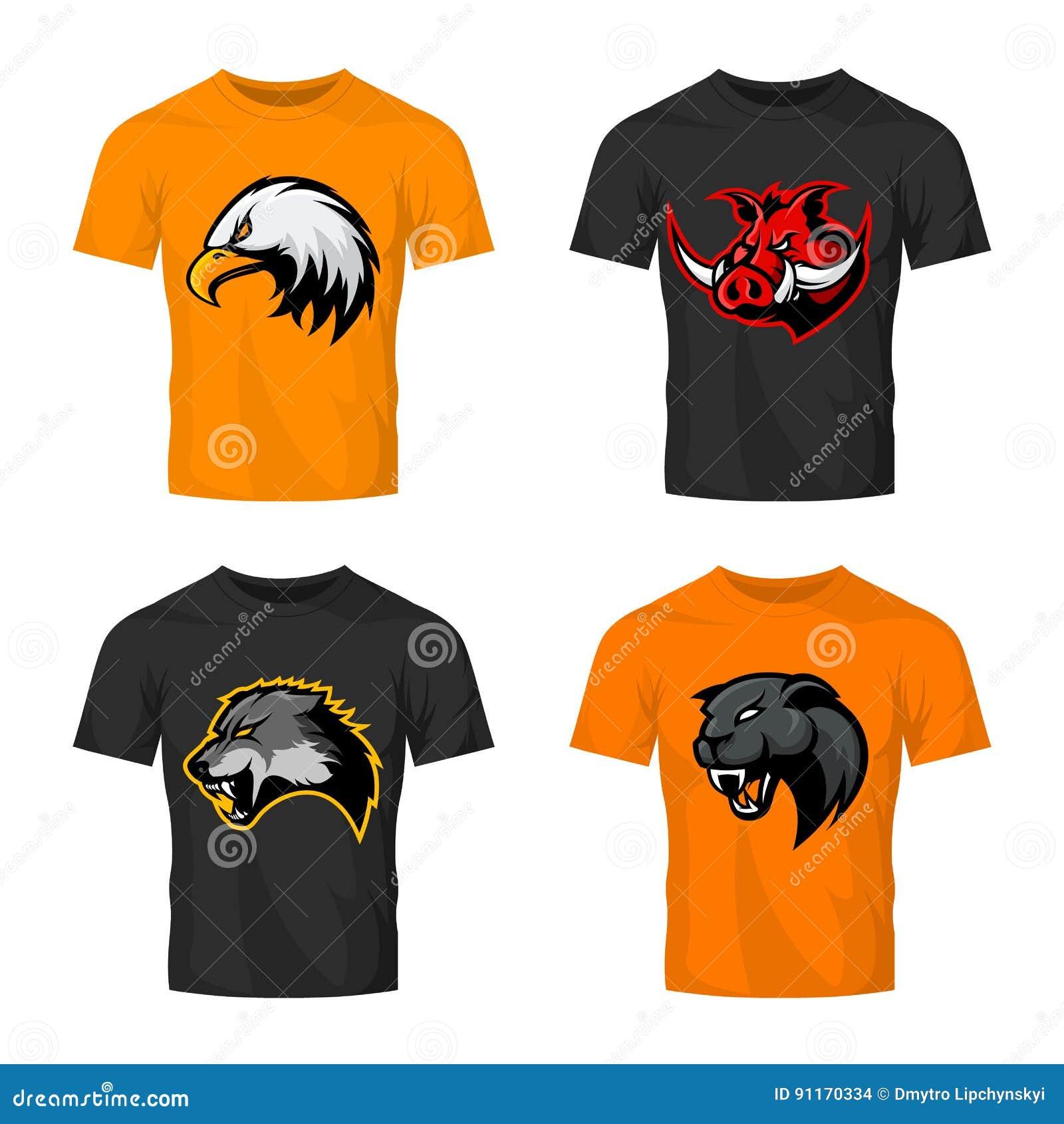Rasande för sportvektor för galt som, för varg, för panter och för örn head uppsättning för begrepp för logo isoleras på färgt-sk