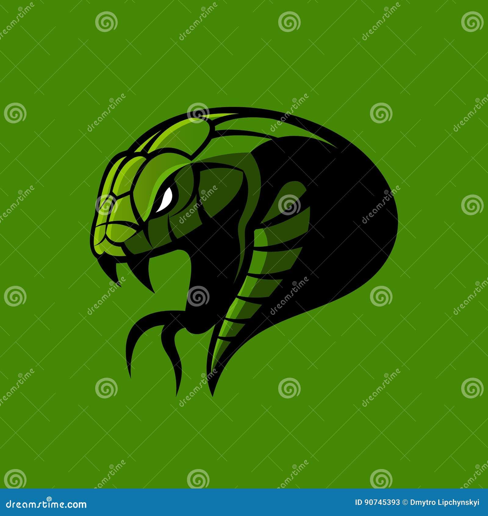 Rasande för sportvektor för grön orm som begrepp för logo isoleras på grön bakgrund