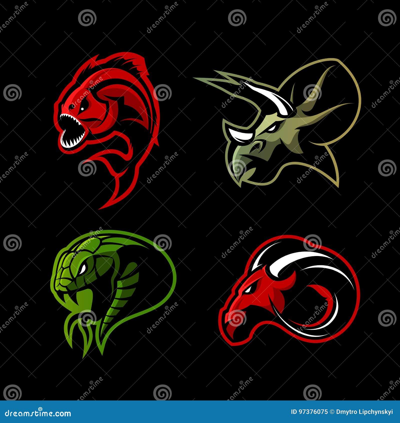Rasande för sportvektor för piranha som, för RAM, för orm och för dinosaurie head uppsättning för begrepp för logo isoleras på sv