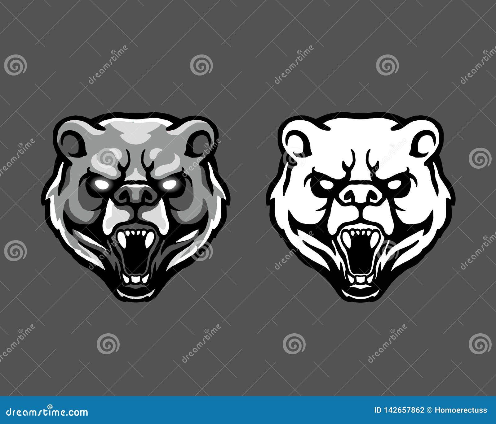 Rasande maskot Logo Badge för tecknad film för huvud för Kodiakbjörn