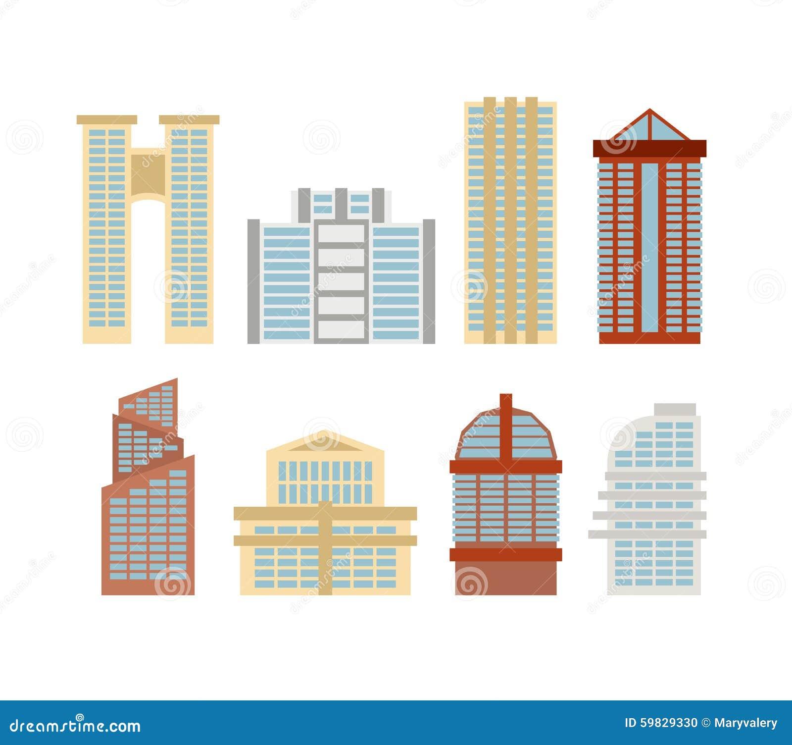 Rascacielos Coloreados, Edificios De Oficinas De La Ciudad Moderna ...