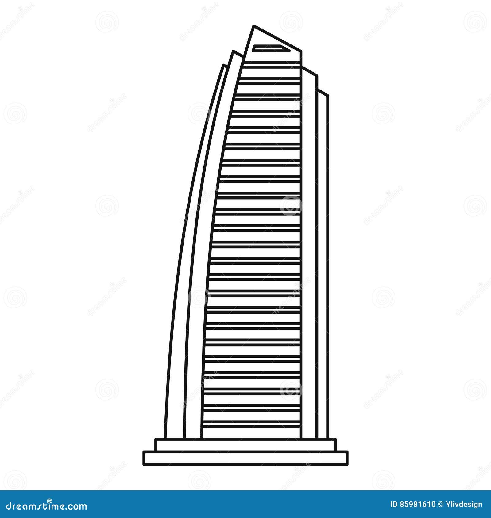 Rascacielos En El Icono De Dubai, Estilo Del Esquema Ilustración del ...