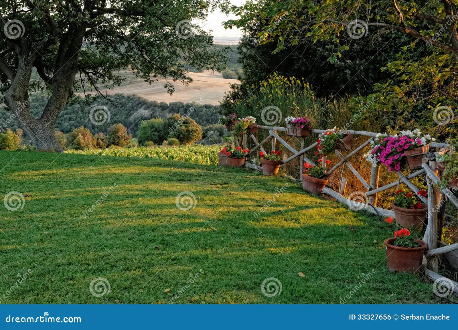 Rasen Mit Blumen Auf Zaun
