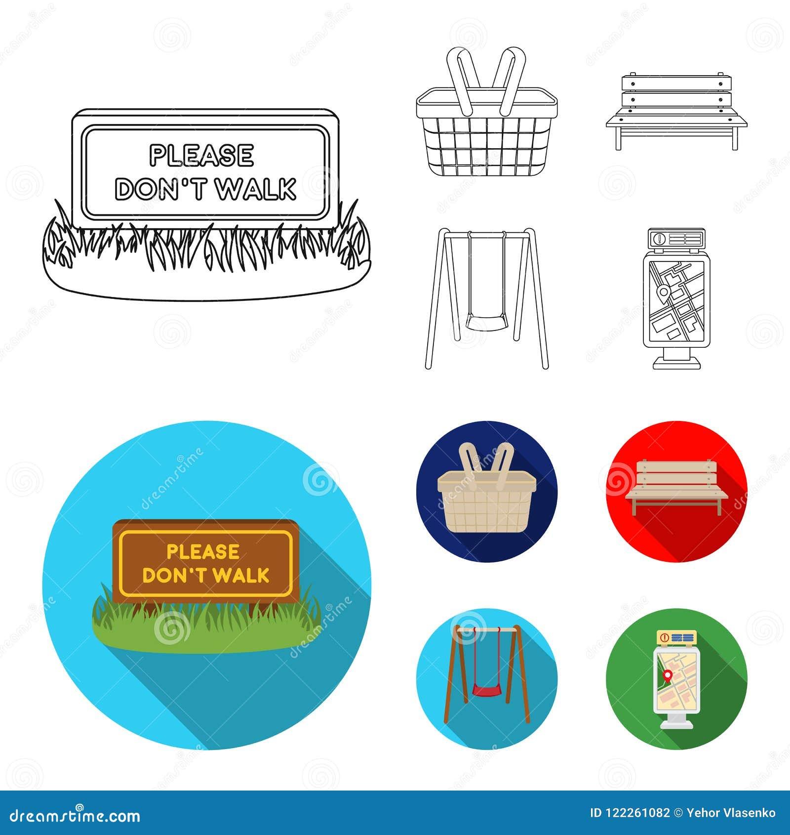 Rasen mit einem Zeichen, ein Korb mit Lebensmittel, eine Bank, ein Schwingen Gesetzte Sammlungsikonen des Parks im Entwurf, flach