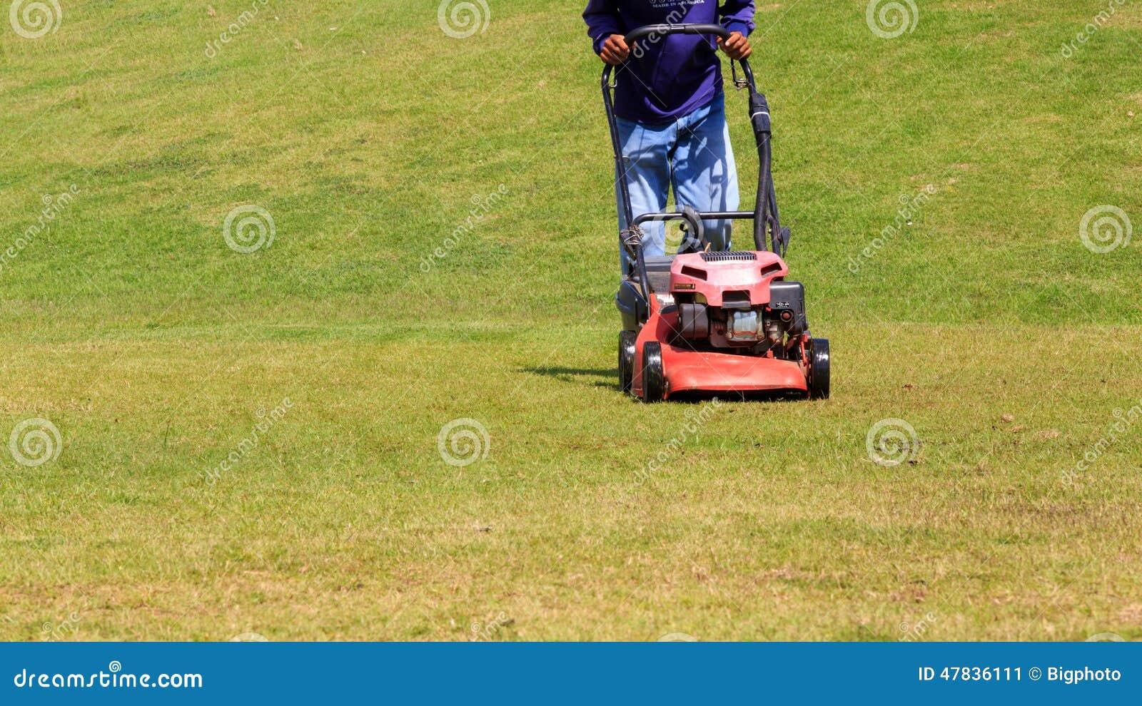 Rasenurheber Gärtner, der grünen Rasen mäht
