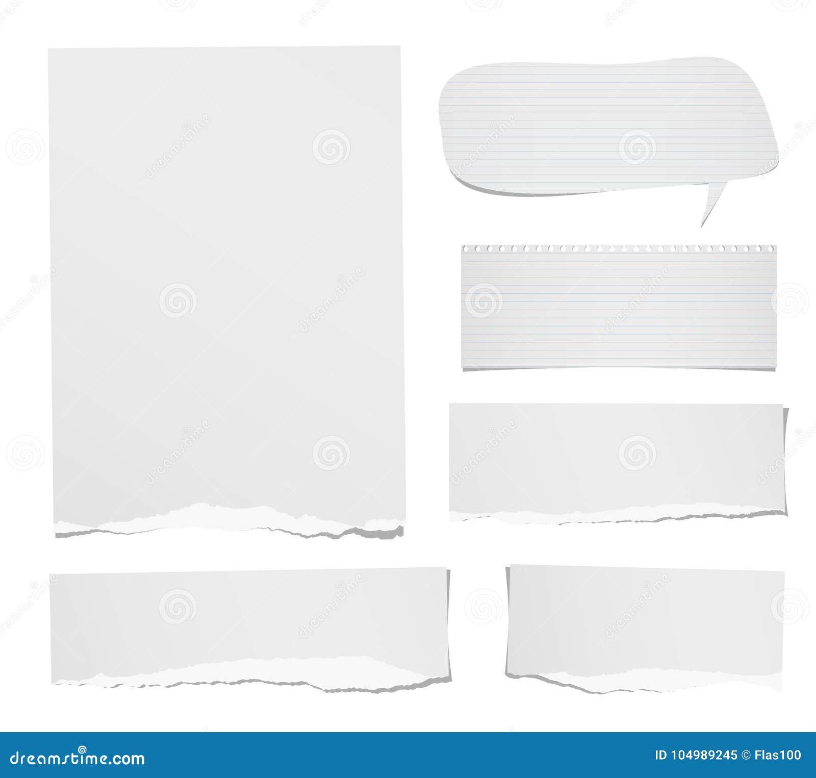Rasgado la nota gobernada y en blanco, el cuaderno, las tiras de papel, la burbuja del discurso de las hojas para el texto o el m