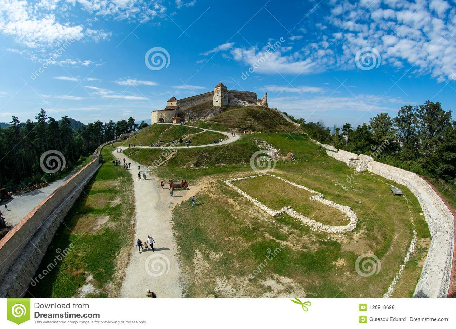 Rasnov Citadel from Brasov , Romania inside court view