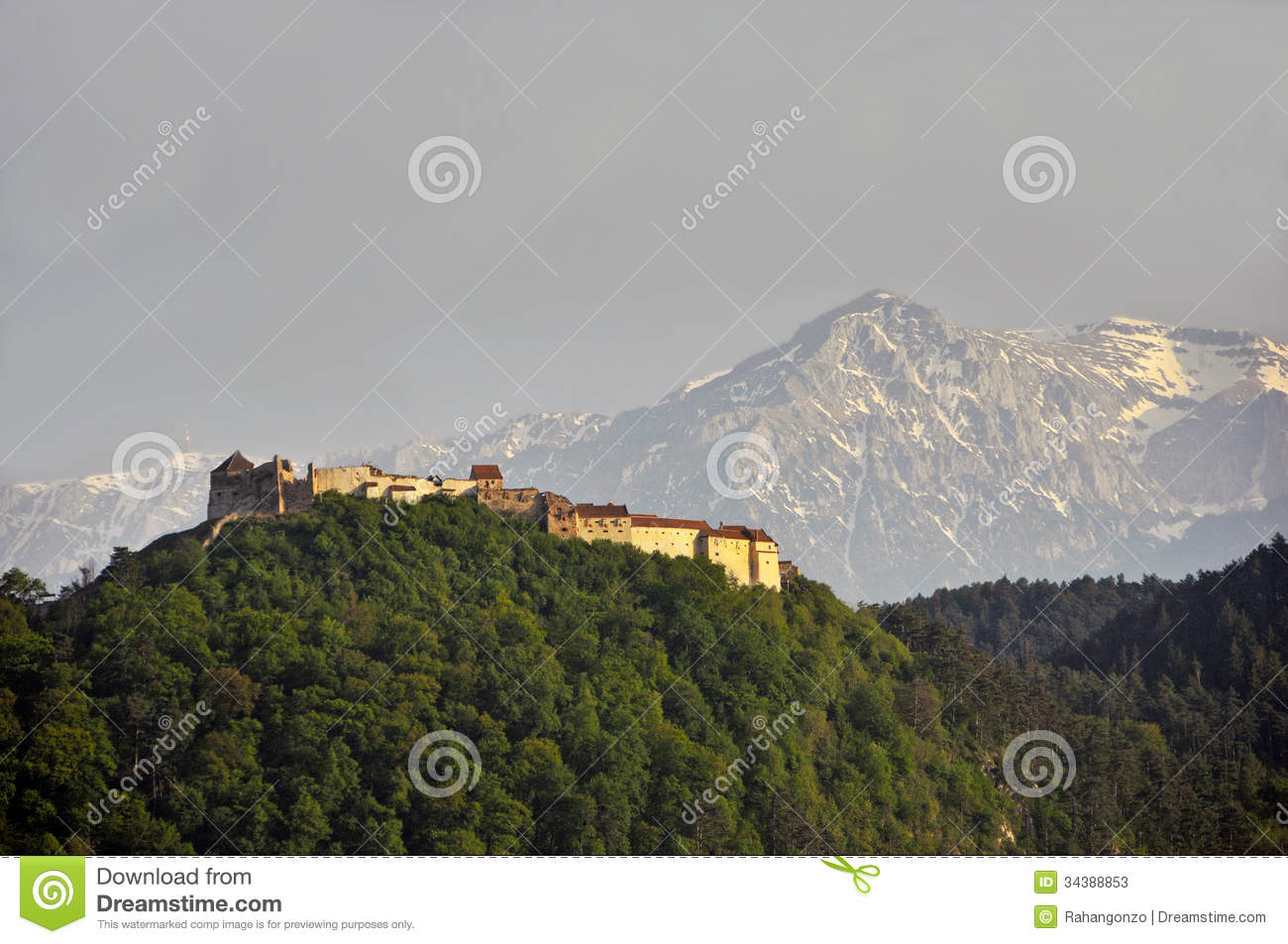 Rasnov citadel view with Bucegi mountains in backg