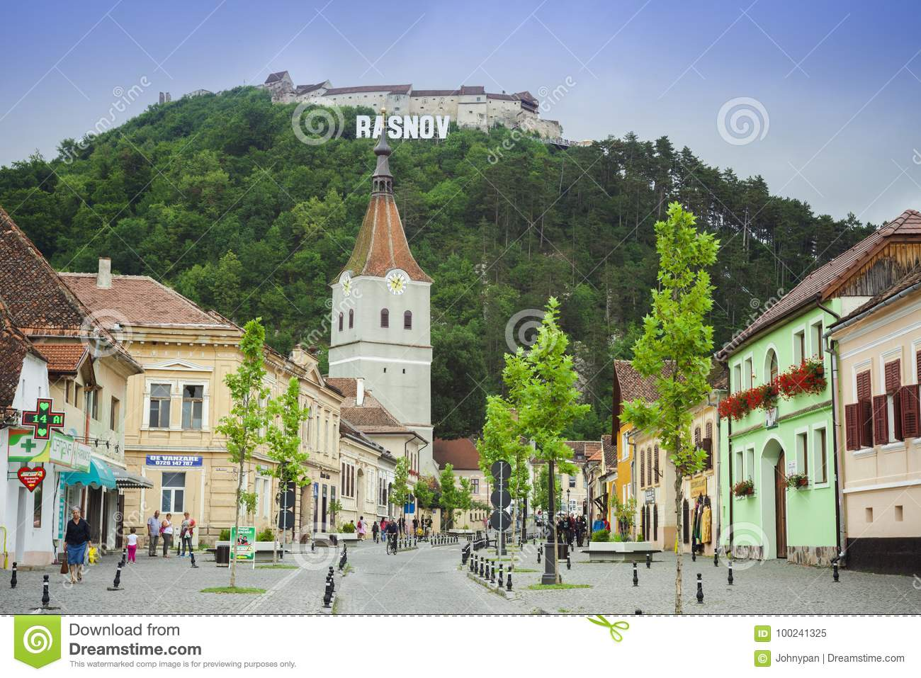 Rasnov old city and fortress on the hill in Romania