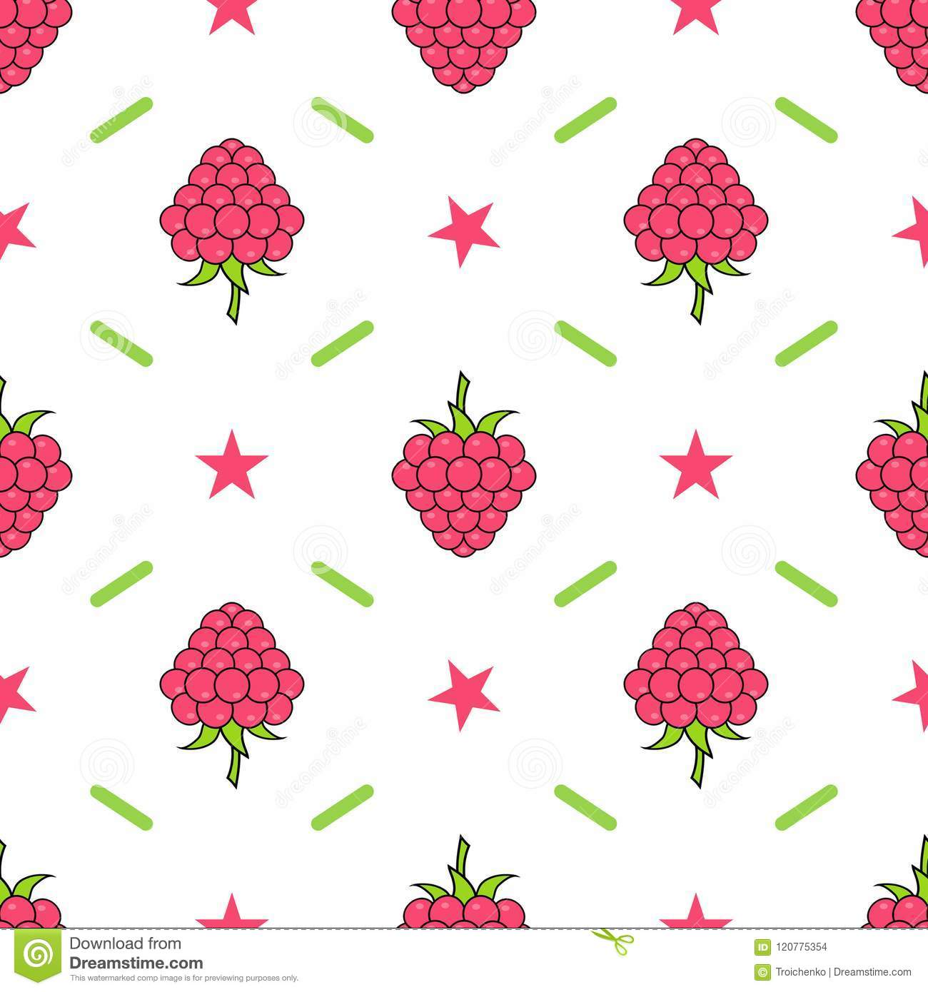 Raspberries Seamless Pattern For Kitchen Textile Wrapping Paper
