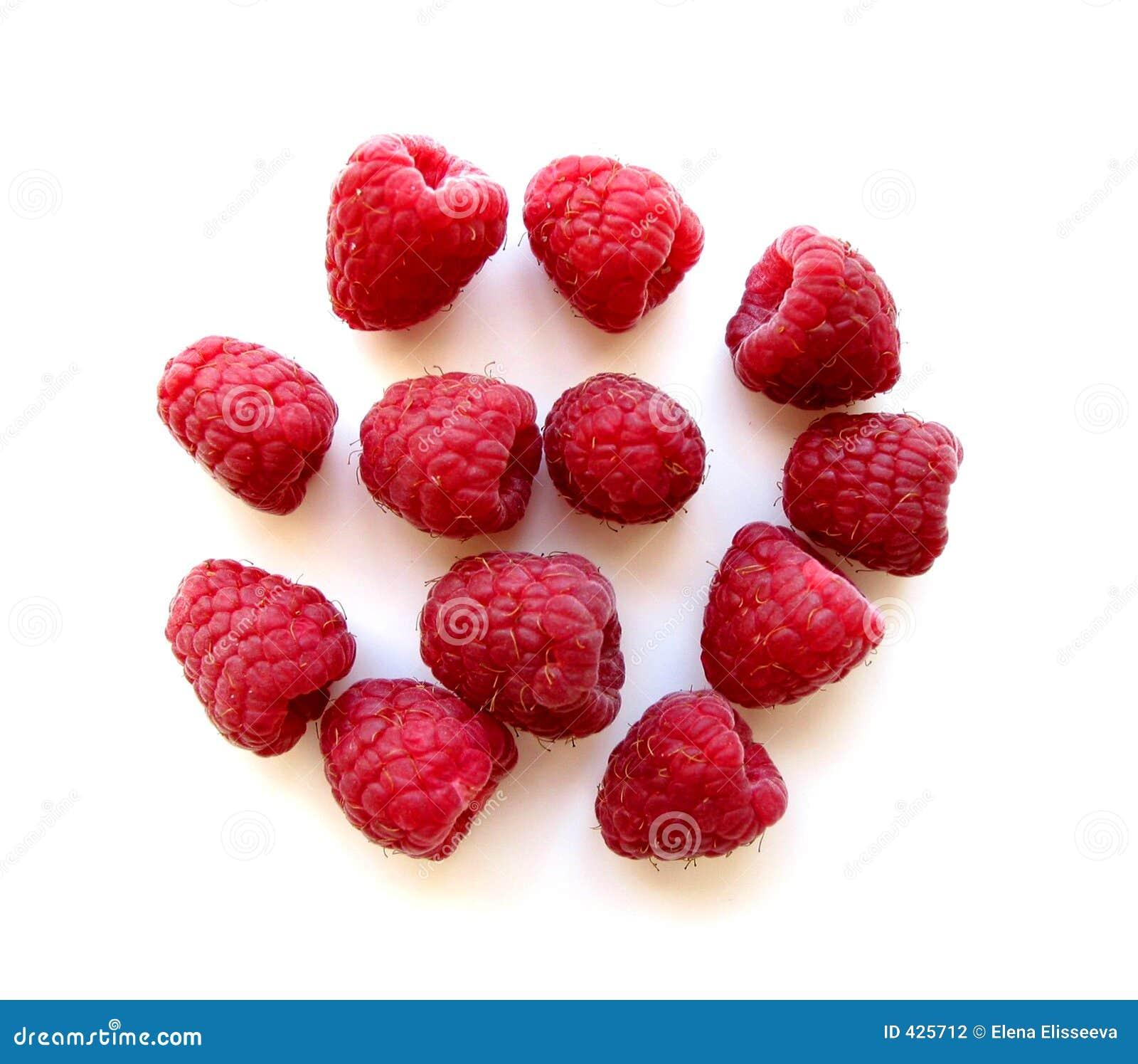 Raspberries on white 1