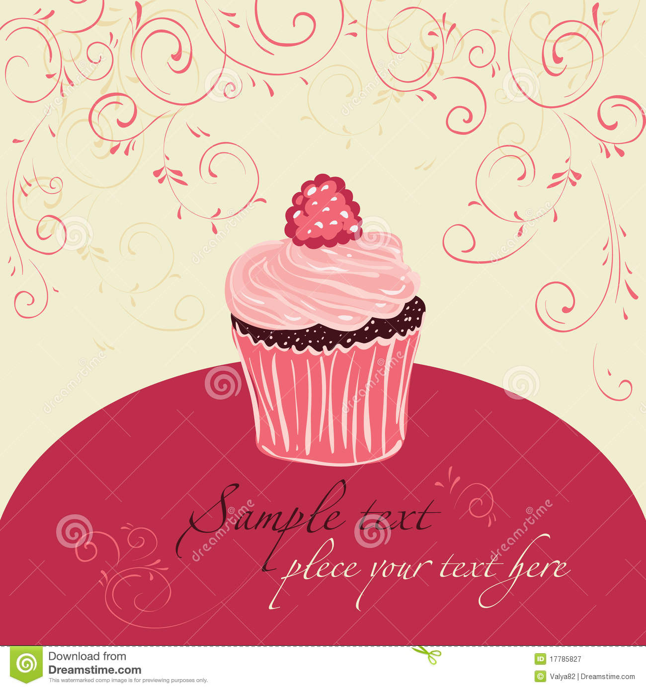 Raspberry Cake. Template Design For Card Royalty Free ...