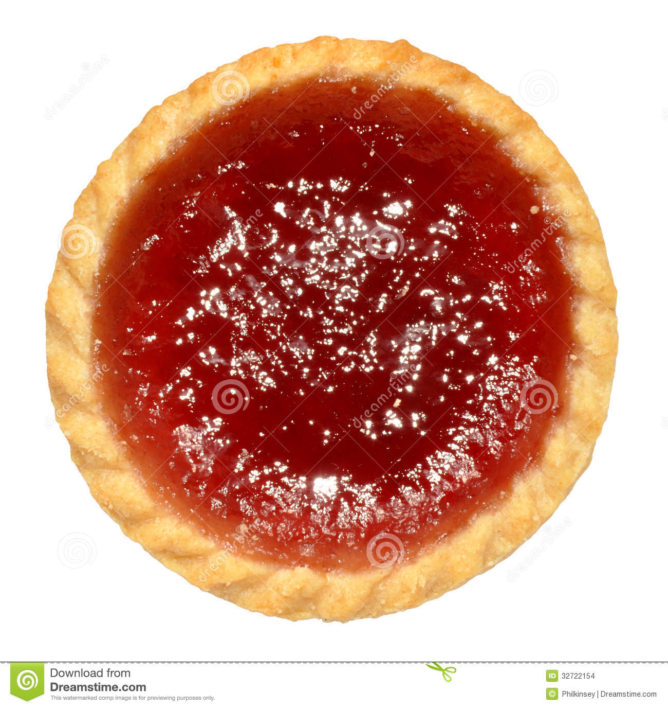 single raspberry jam filled tart isolated on a white background.