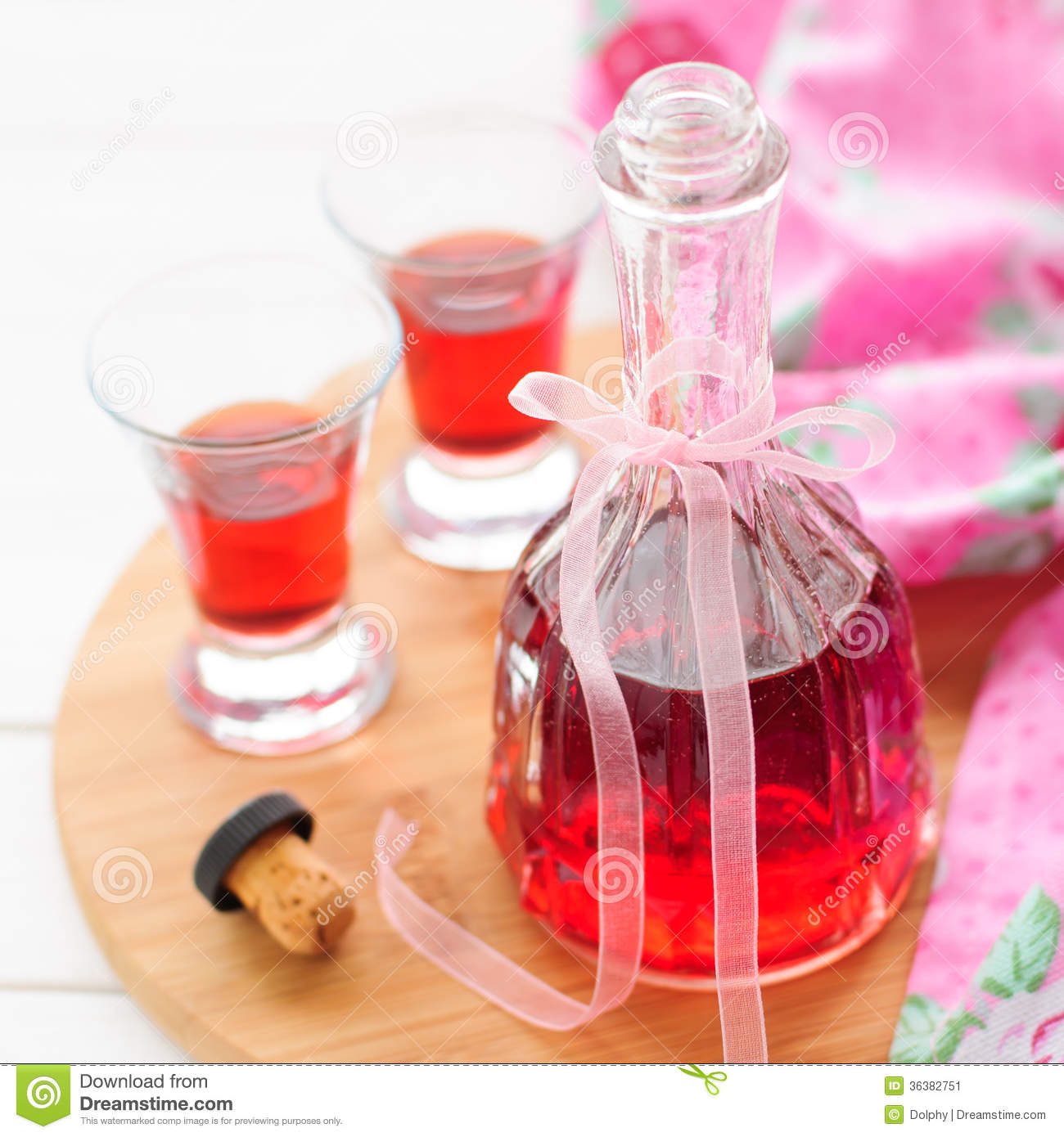 Bottle and Two Shots of Homemade Raspberry Liqueur, square, copy ...