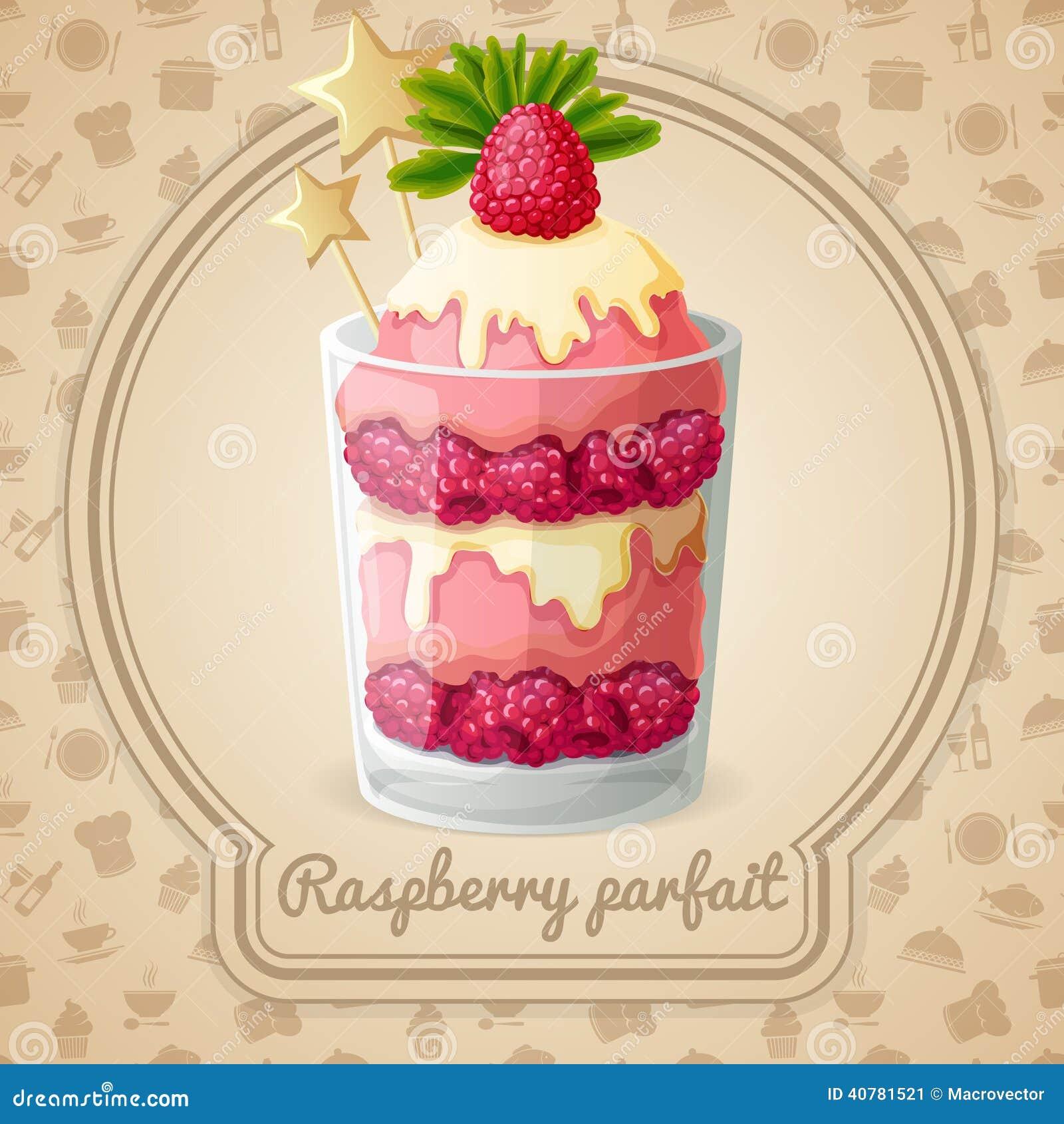 Raspberry Parfait Emblem Stock Vector. Image Of Icon