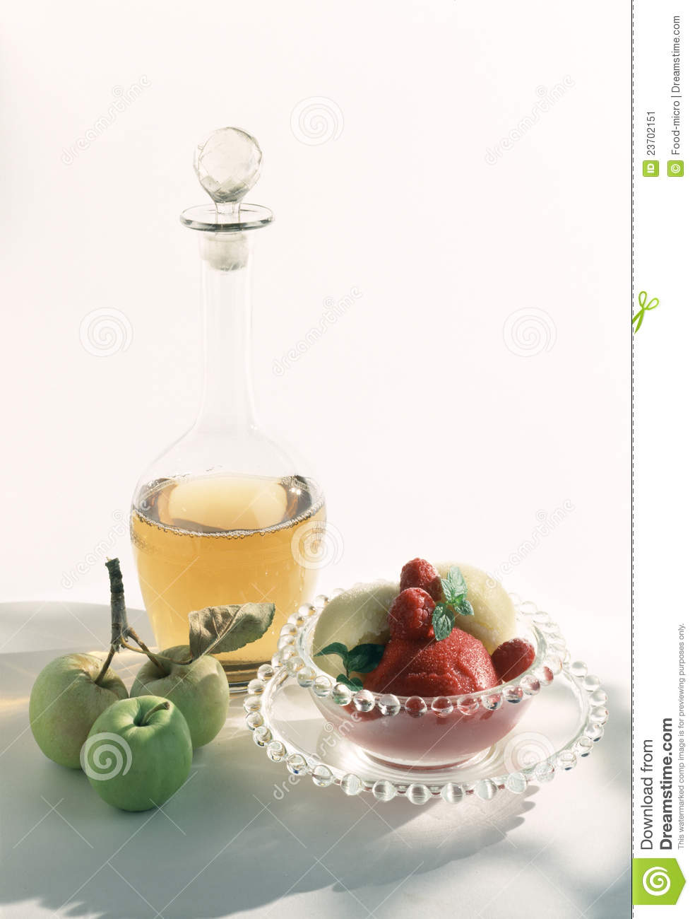 Raspberry And Peach Sorbet With Peppery White Wine Stock Image - Image ...