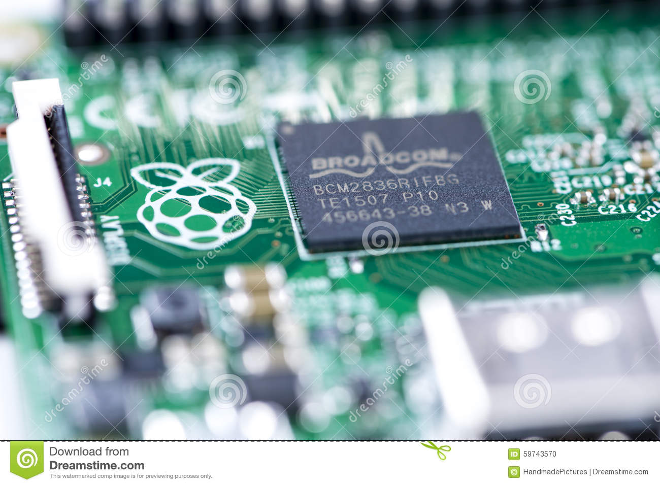 Raspberry Pi editorial image  Image of broadcom, mainboard