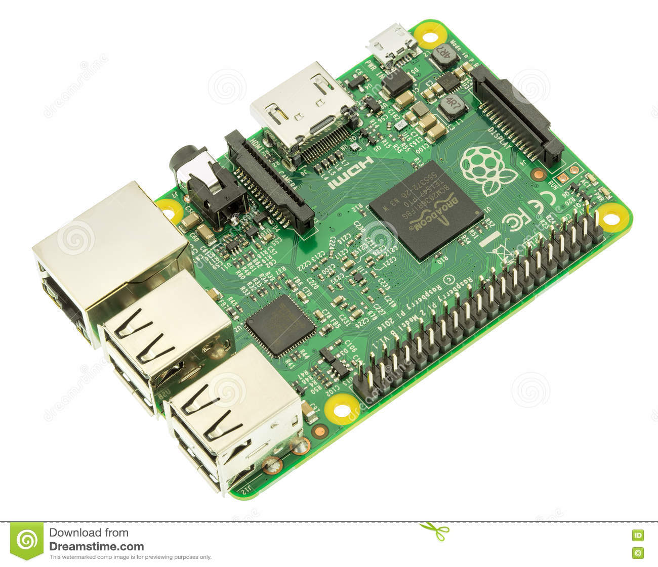 Raspberry Pi 2 Model B Board Isolated On White Editorial Stock Photo Circuit