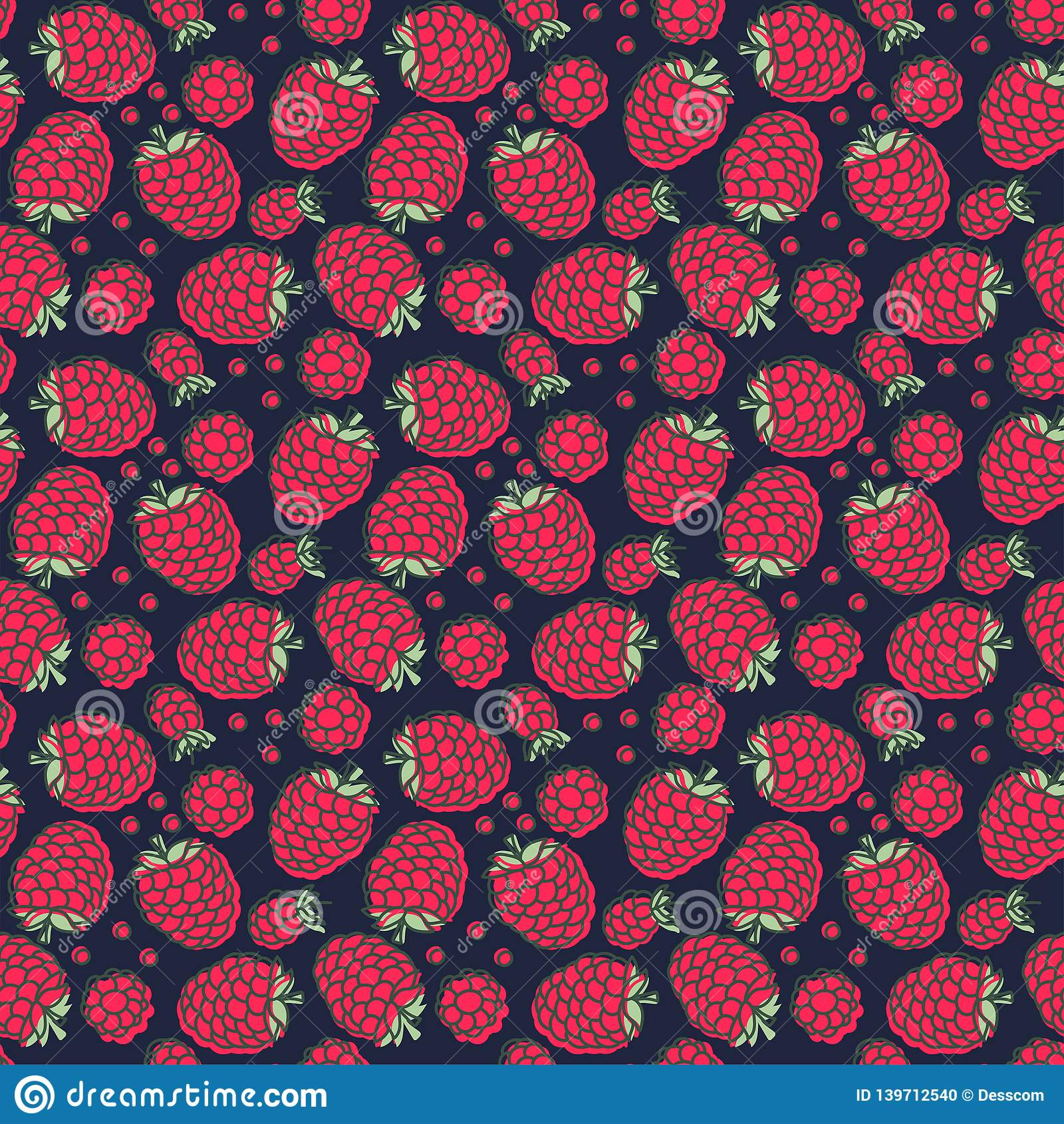 Raspberry seamless pattern. Hand drawn fresh berry. Vector sketch background. Doodle wallpaper. Red, dark blue and green print