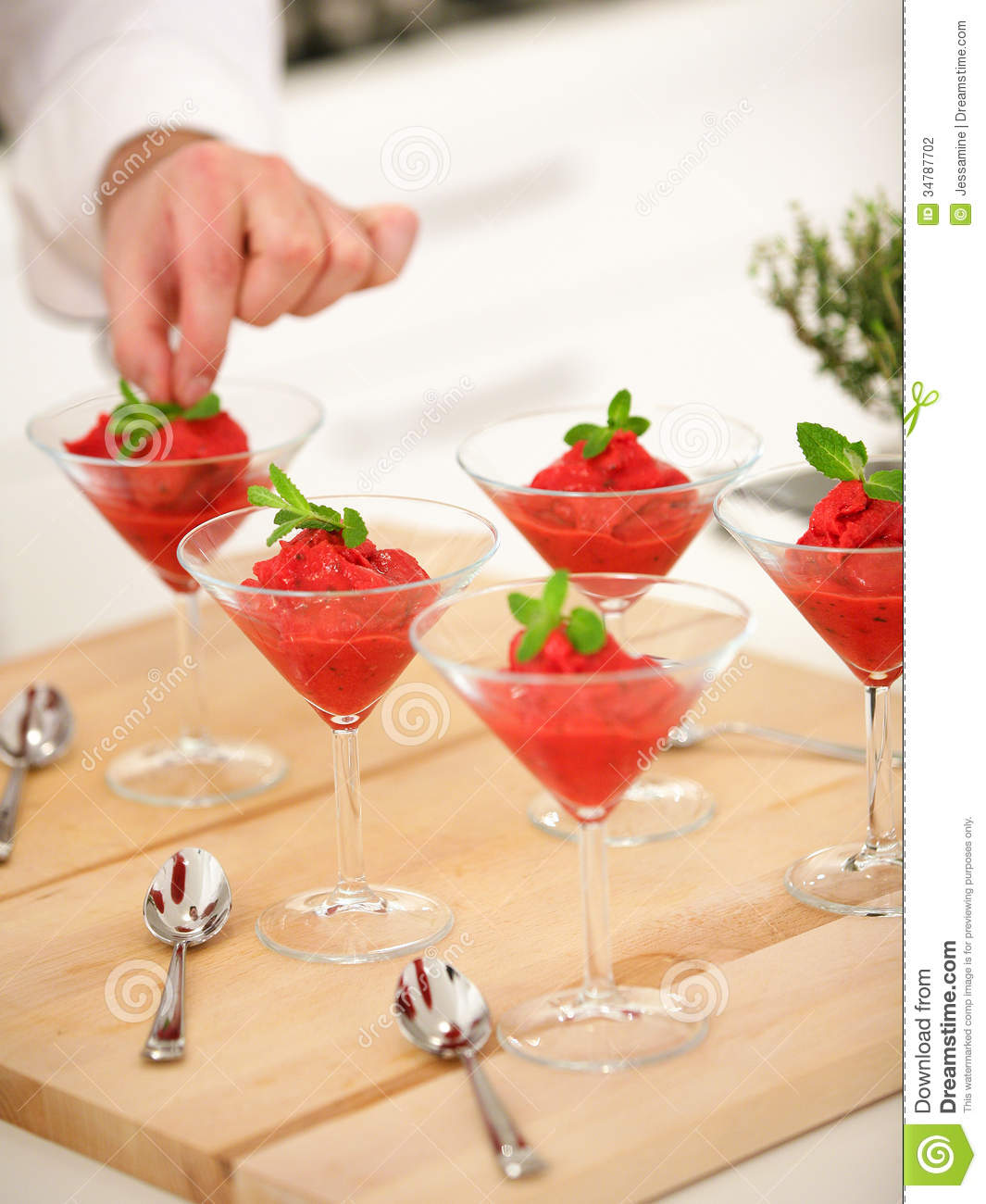 Raspberry Sorbet With Mint Stock Photography - Image: 34787702