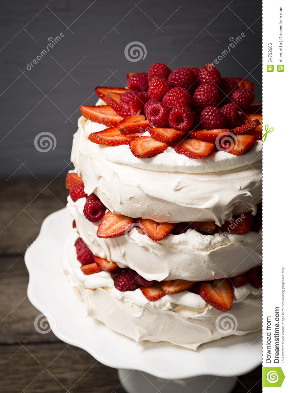 Raspberry and Strawberry Pavlova Cake
