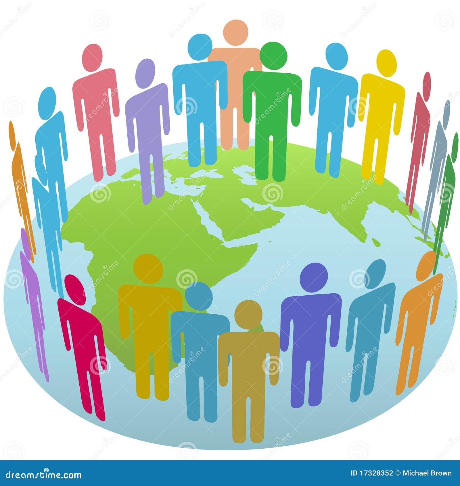 Rassemblement de groupe de gens du monde sur le globe oriental de la terre