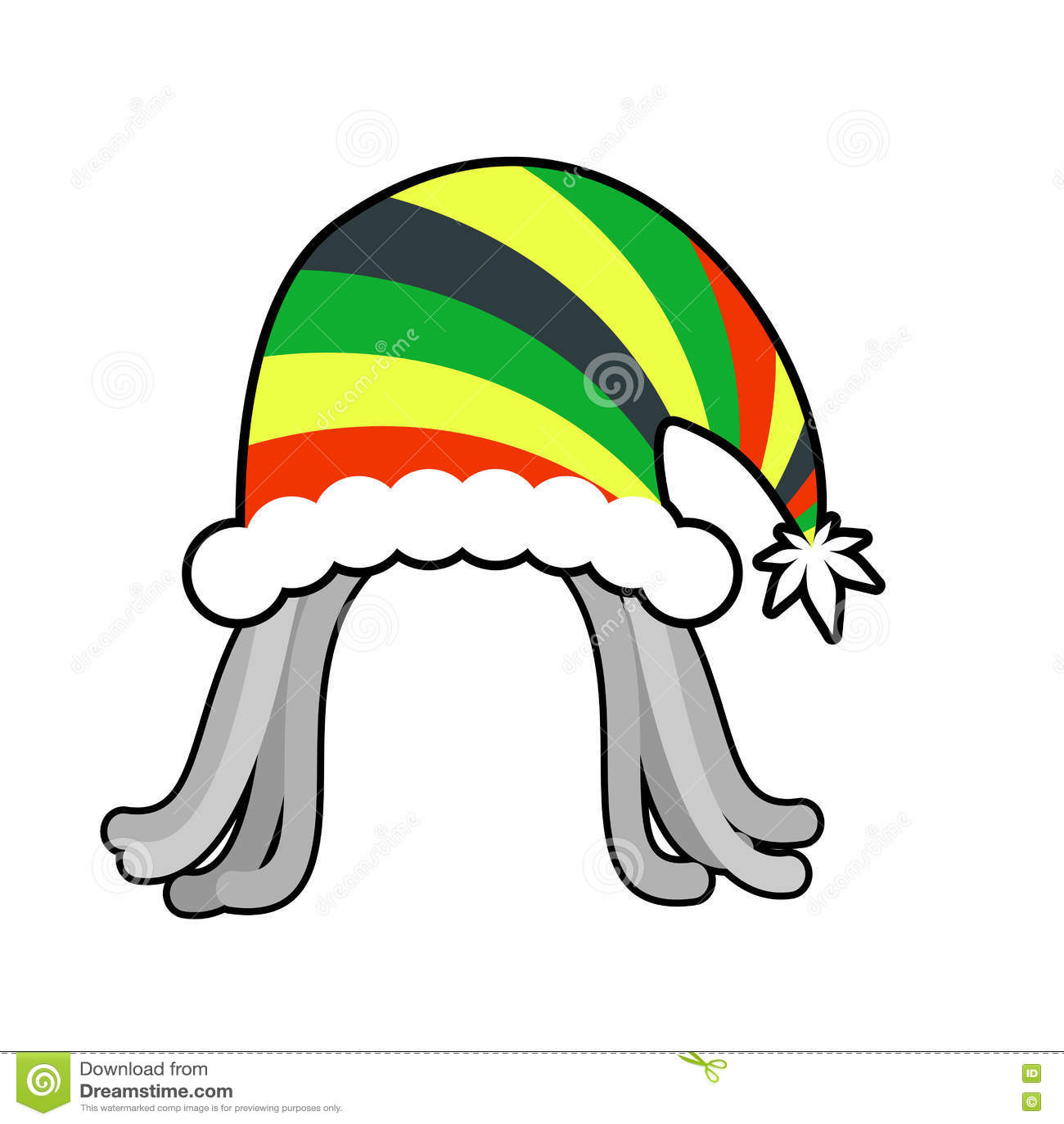 Rasta cap for Santa Claus. Rastaman dreadlocks festive hat. Reggae style  hood for holiday 2e6544da1