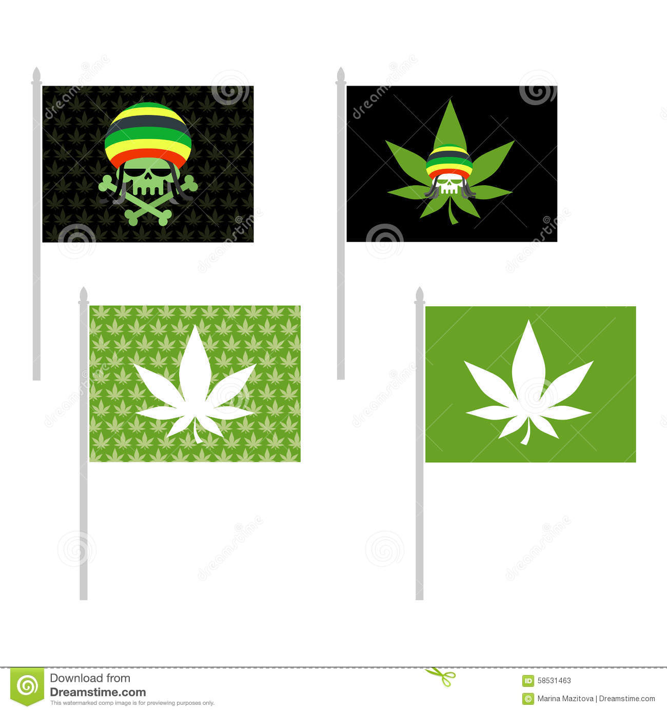 Rasta Flags Set Banner For Addicts Of Jamaica Green Skull And