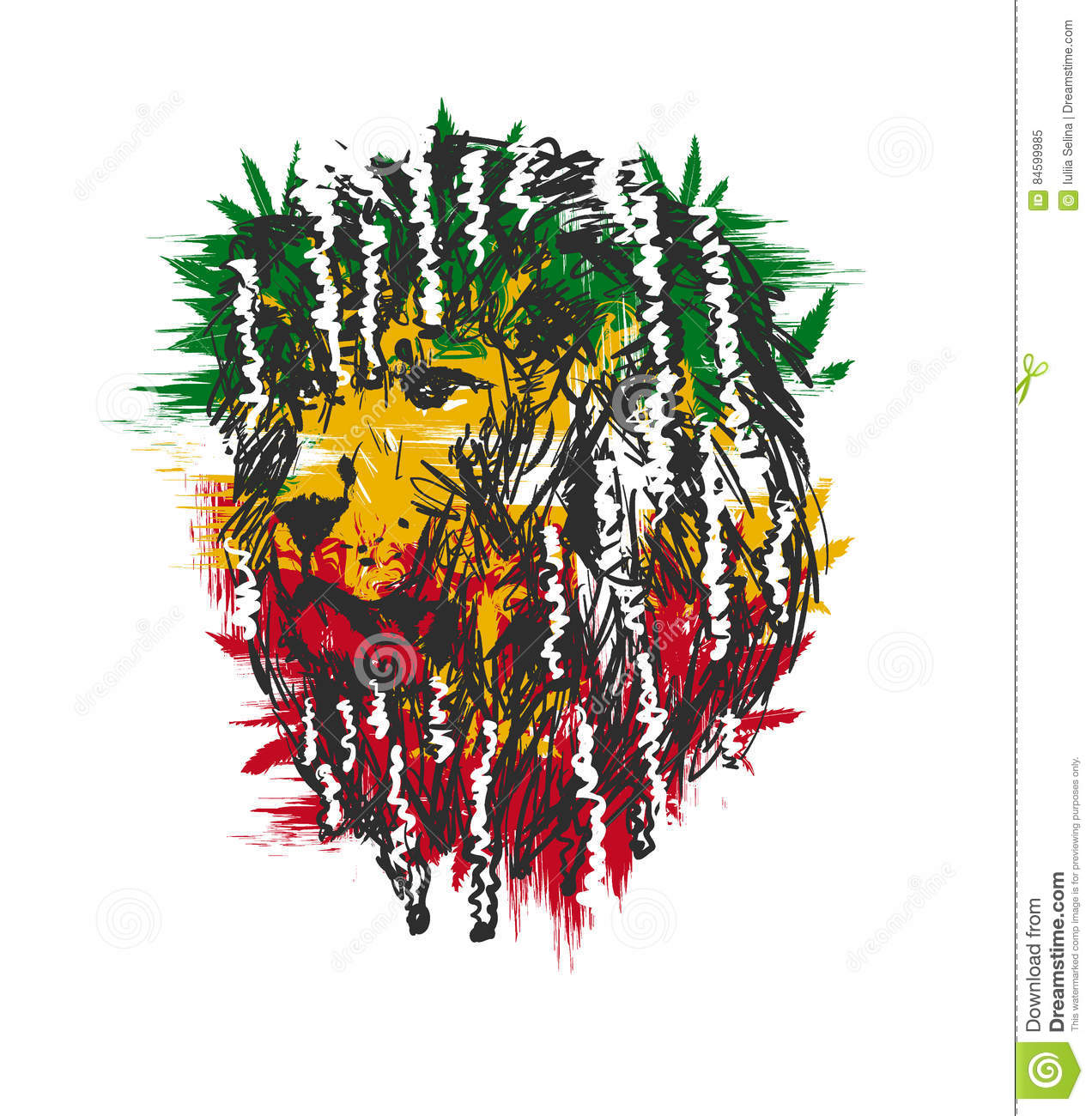 Rastafarian 2: Rasta Lion Vector 2 Vector Illustration