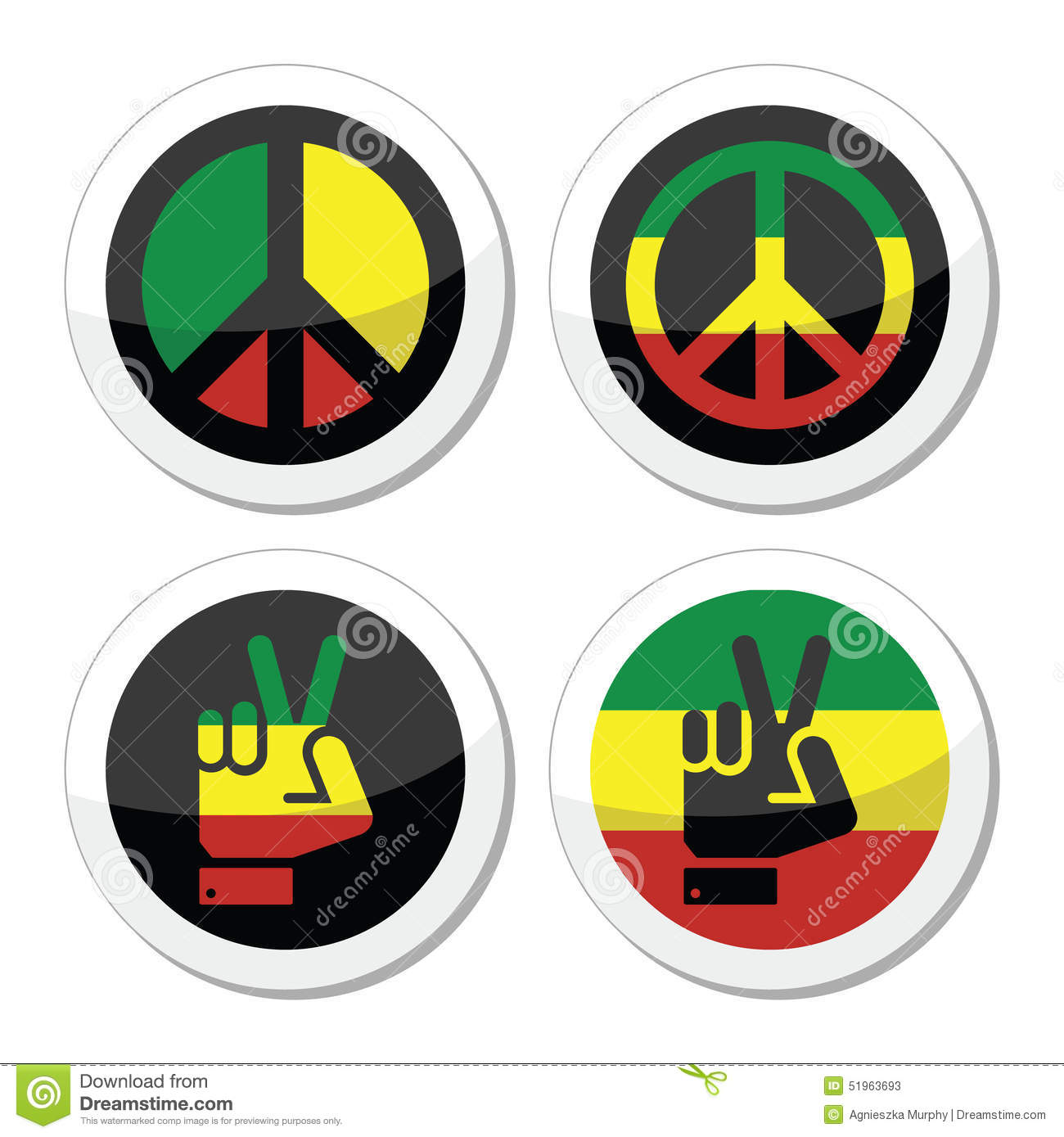 Rasta Peace Hand Gesture Vector Icons Set Stock Vector