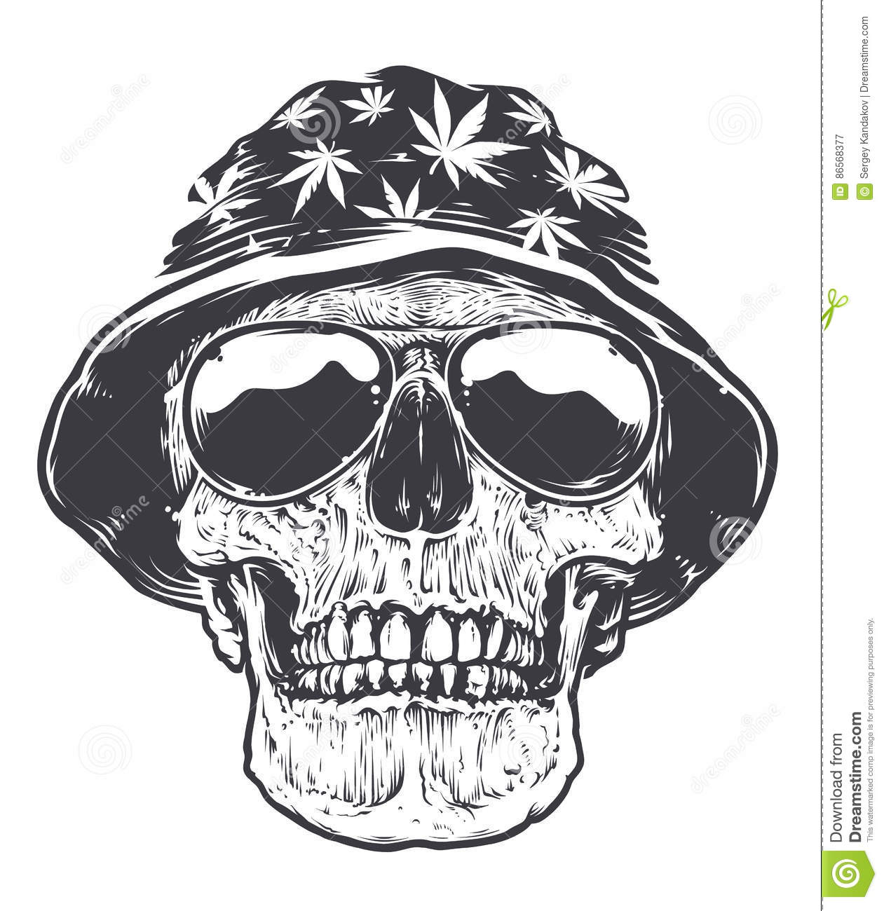 rasta skull in hat and sunglasses stock vector illustration of