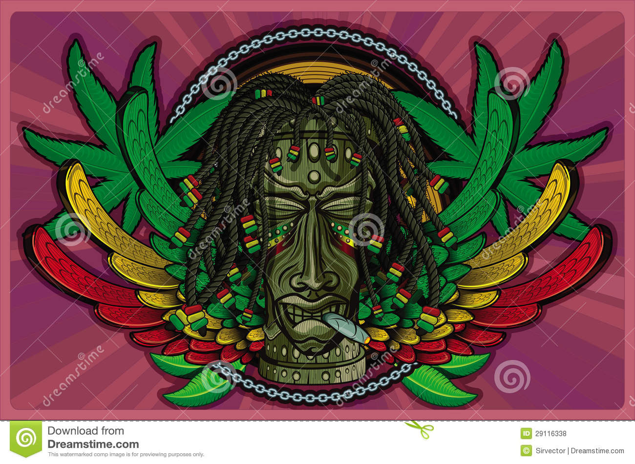 Rasta tiki wooden masks with human features and cigar wings in the