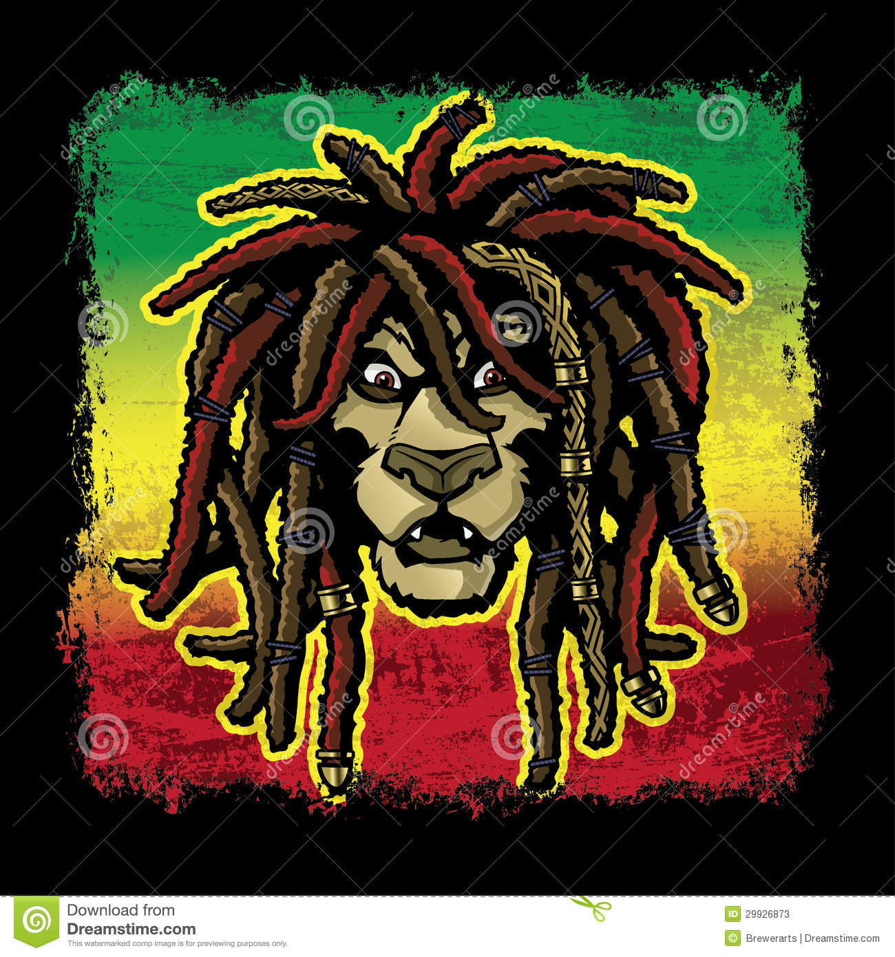 Rastafarian 2: Rastafarian Lion With Dreadlocks Stock Vector