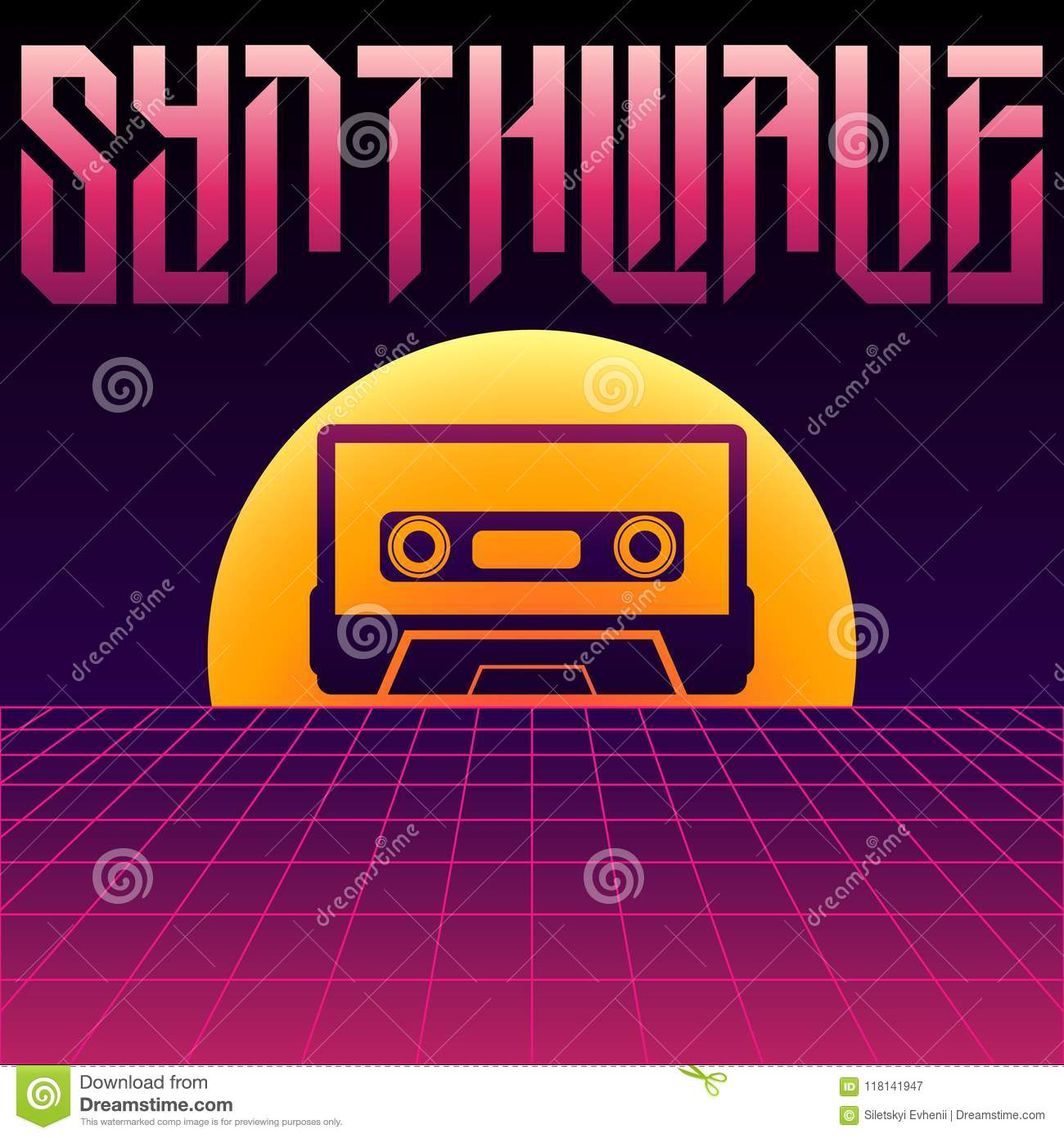 Cassette In Sunset On A Purple Background Andinscription Of