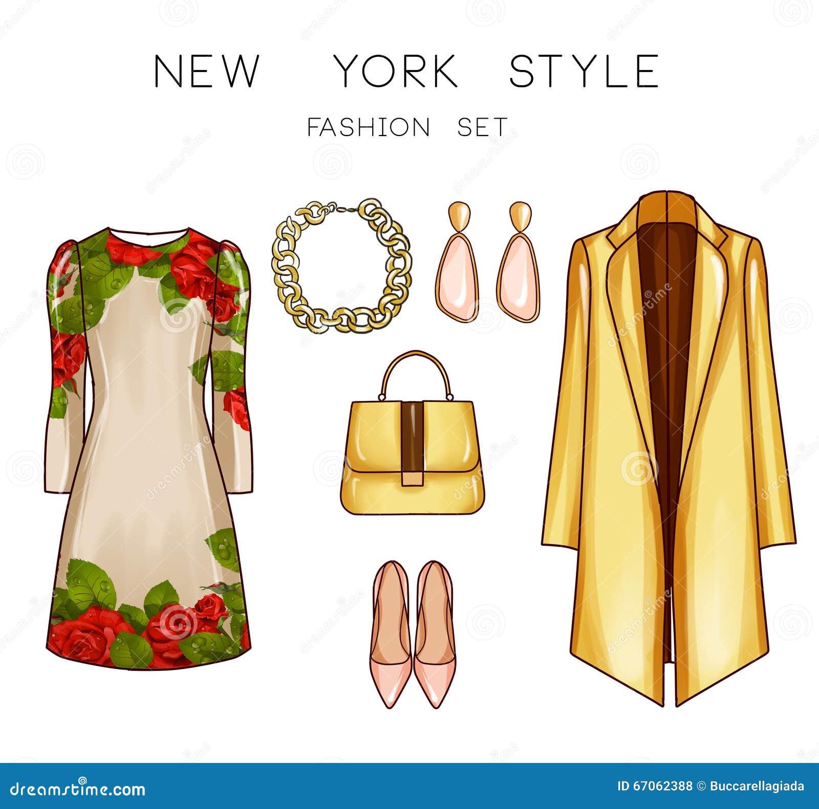 Raster fashion illustration set clip art set of woman 39 s for Fashion designer craft sets