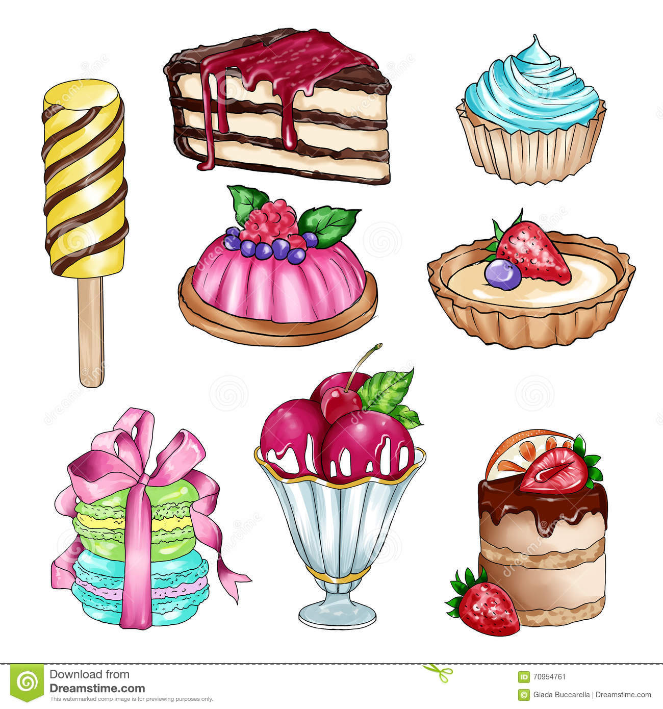Raster Illustration With Different Sweet Food Stock ...