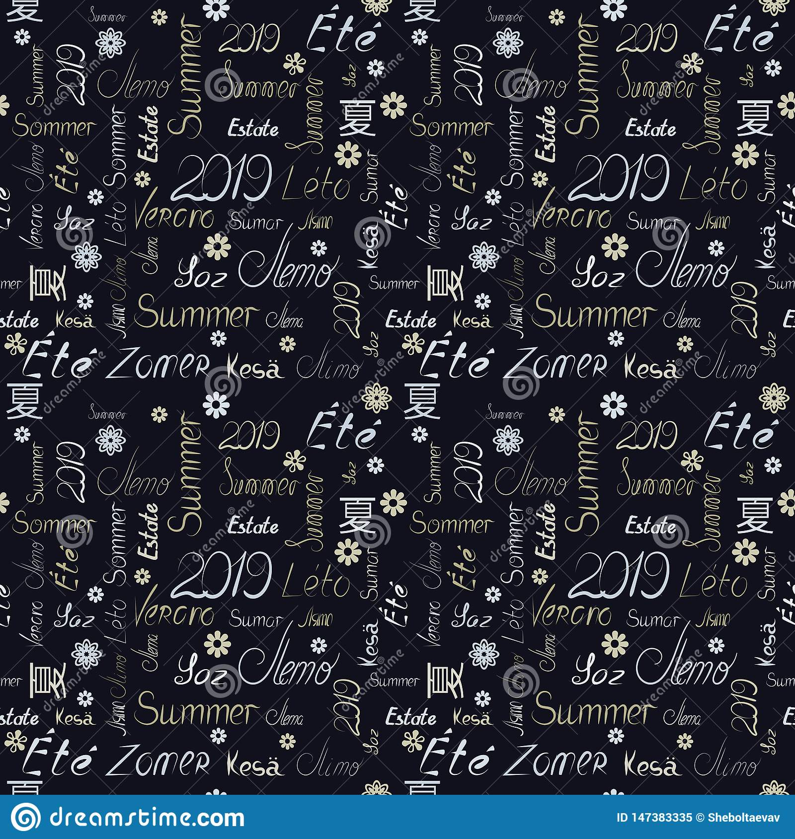 Seamless pattern with the words summer 2019 in different languages of nations of the world