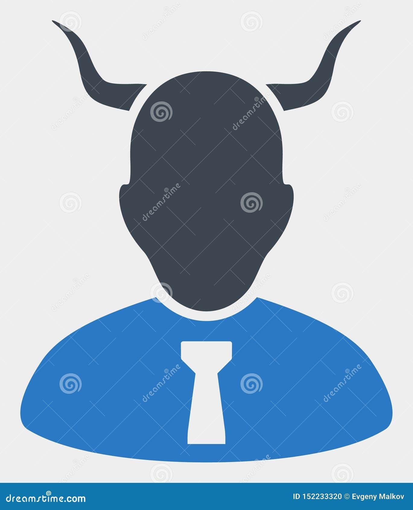 Raster-Teufel-Ikone auf weißem Hintergrund