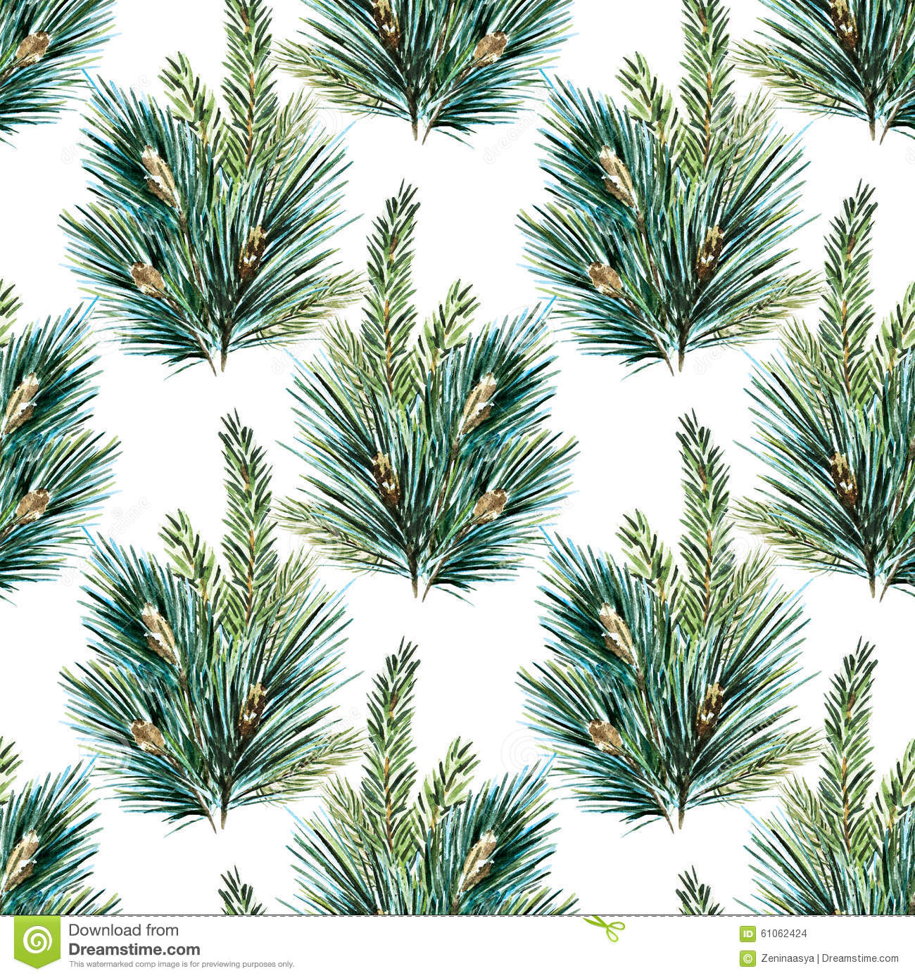 Watercolour Christmas Tree: Raster Watercolor Christmas Tree Pattern Stock Photo