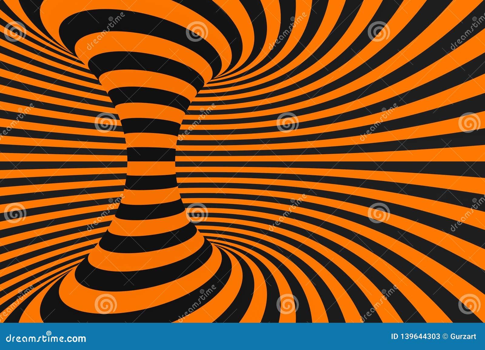 Rasterillustration der Illusion 3D des Tunnels optische Kontrastieren Sie Linien Hintergrund Hypnotische Streifen verzieren Geome