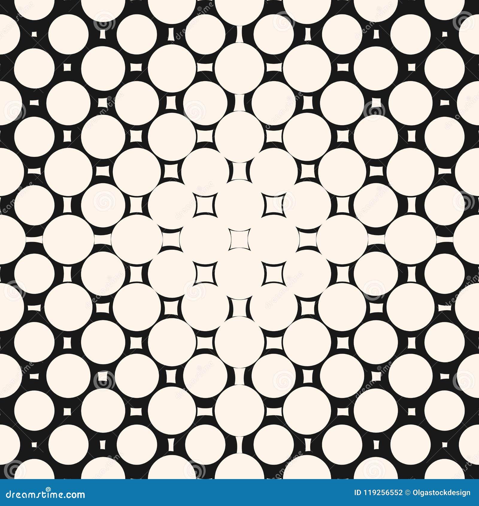 Rastrerad cirkelmodell Geometrisk sömlös textur med cirklar, fyrkanter, prickar