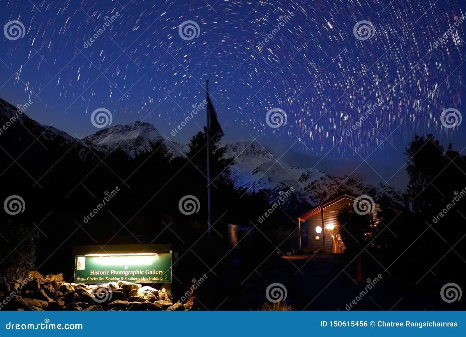Rastro de la estrella en el parque nacional del cocinero del soporte