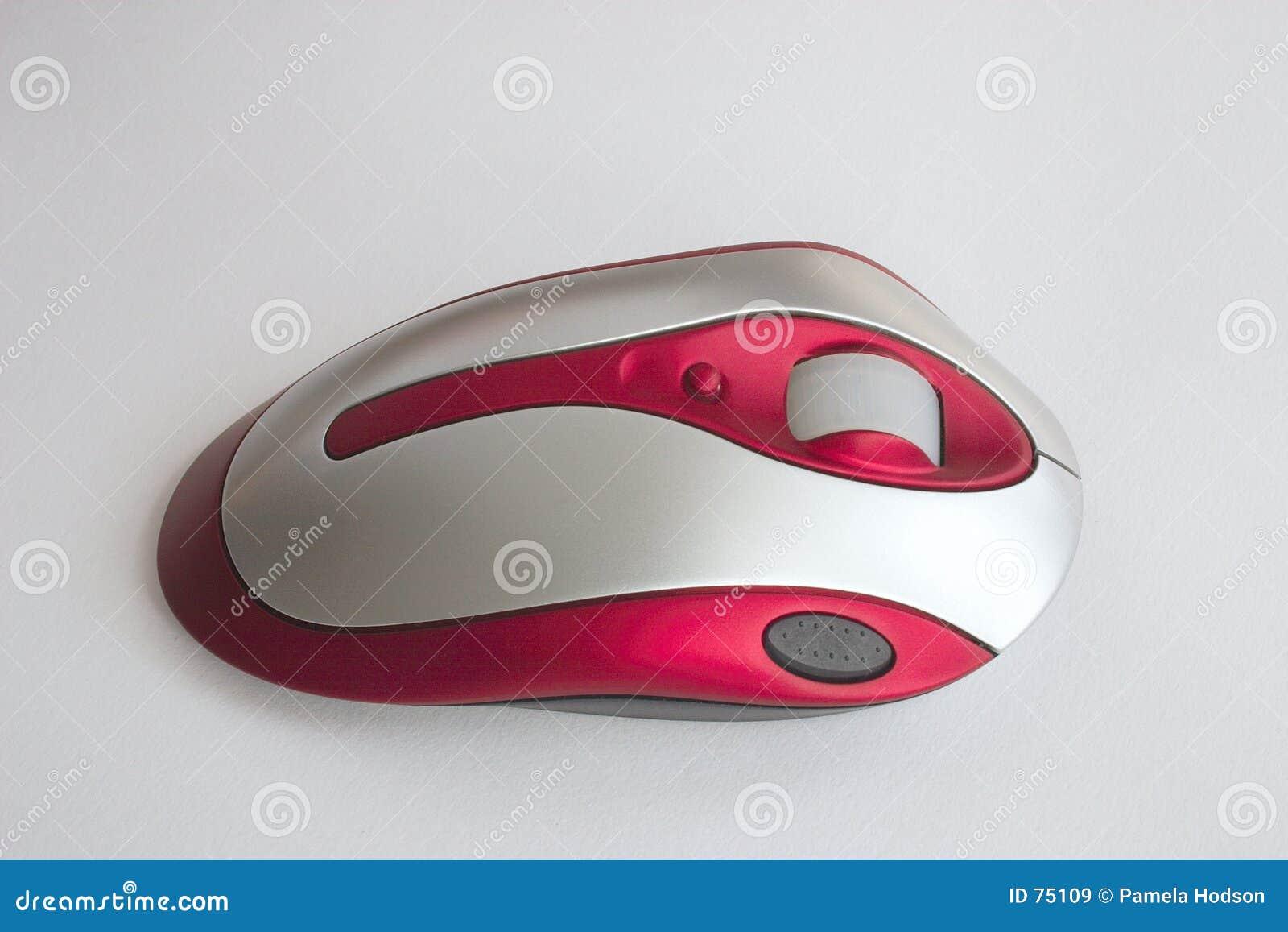 Ratón óptico rojo y de plata